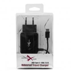 Ładowarka sieciowa  eXtreme USB TYP-C + USB 3.1A