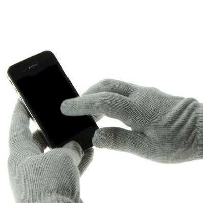 Rękawiczki Terrapin do ekranów dotykowych - uniwersalne szare